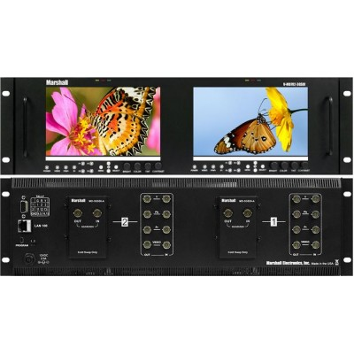 """Marshall Electronics V-MD702-3GSDI Dual 7"""" 3RU High Resolution LCD Rack Mount Monitor with 3G-SDI Inputs and Loop-Through"""