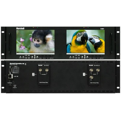 """Marshall Electronics V-MD72 Dual 7"""" 3RU High Resolution LCD Rack Mount Monitor with Modular Input and Output"""