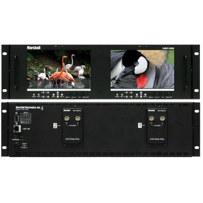 "Marshall Electronics V-MD72-3GSDI Dual 7"" 3RU High Resolution LCD Rack Mount Monitor with 3G-SDI Modules and Loop-Through"